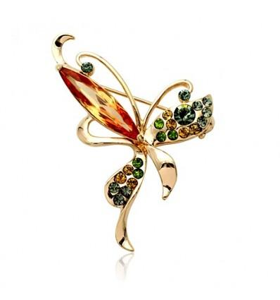 Happy Butterfly - Brosa fluturas decorata cu cristale Swarovski