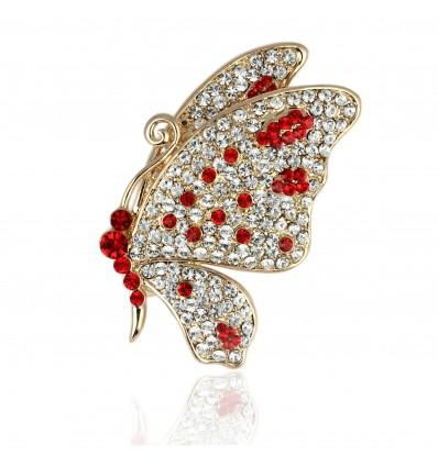Gold wings - Brosa fluture cu cristale