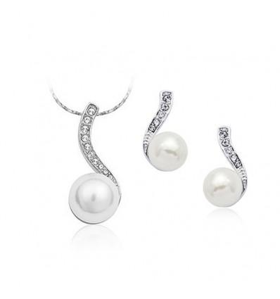 Silver Pearl - set colier si cercei cu perluta si cristale