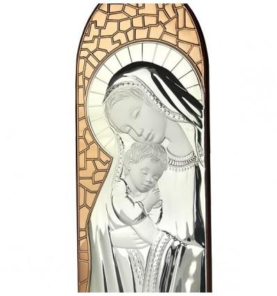 Fecioara Maria si Pruncul - icoana pe foita de Ag. 925 si cupru