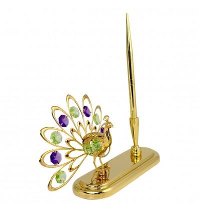 Paun decorat cu cristale Swarovski pe suport cu pix