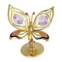 Fluturas cu cristale Swarovski roz si violet