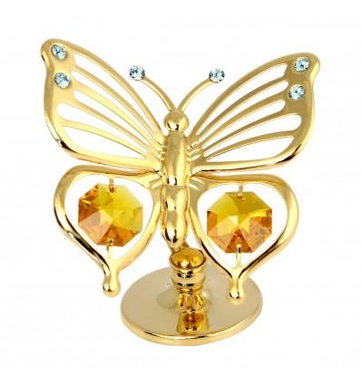 Fluturas auriu cu cristale Swarovski topaz si bleu