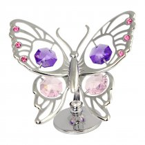 Fluturas argintiu cu cristale Swarovski roz si violet