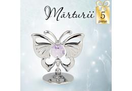 Fluturas auriu cu cristale Swarovski violet - oferta de 5 marturii