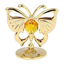 Fluturas auriu cu cristale Swarovski topaz - oferta de 5 marturii