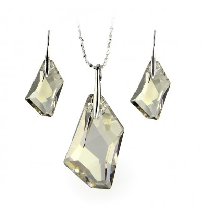 Set colier si cercei cu cristale Swarovski