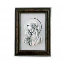 Icoana argintata cu paspartout wenge Fecioara Maria si Pruncul 25*19 cm