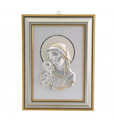 Icoana argintata cu paspartout ivoire Fecioara Maria si Pruncul 25*19 cm