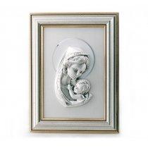 Icoana argintata inramata cu Fecioara Maria si Pruncul