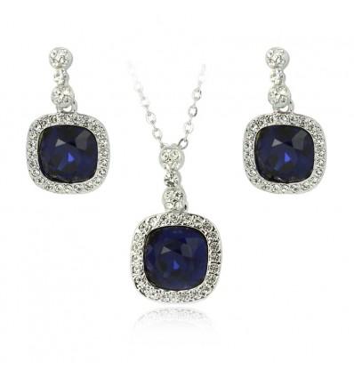 Colier si cercei cu cristale Swarovski albastre