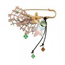 Brosa cu motiv floral si cristale Swarovski