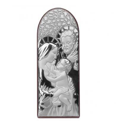 Icoana pe foita de argint cu Sacra Familie ( 6.5 x 2.5 cm)