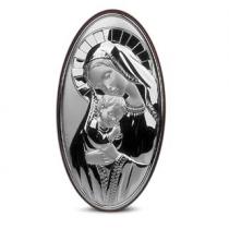 Icoana pe foita de argint cu Maica Domnului si Pruncul ( 9 x 6 cm)
