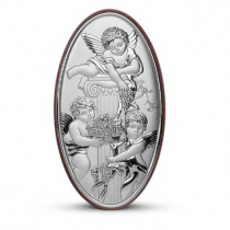 Icoana cu ingerasi pe foita de argint (9 x 6 cm)