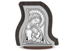 Icoana pe foita de argint cu Maica Domnului si Pruncul (10 x 9 cm)