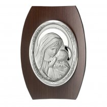 Icoana argintata ovala pe lemn Fecioara Maria si Pruncul