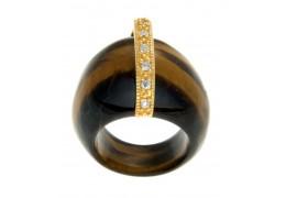 Inel din obsidian maro cu cristale cubic zirconia