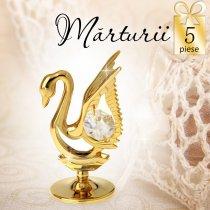 Lebada aurie cu cristale Swarovski albe - oferta de 5 marturii nunta