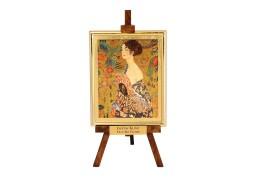 Tablou pe sevalet Klimt - Doamna cu evantaiul - pe foita de aur de 23Kt