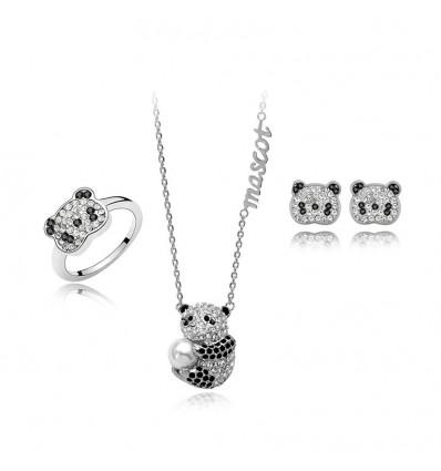 "Set  ""Panda bears"" -, cercei si inel cu cristale Swarovski"