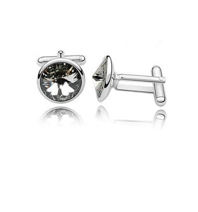 Butoni placati cu platina si decorati cu cristale Swarovski