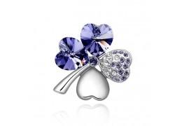 """Brosa """"Trifoi cu patru foi"""" - decorata cu cristale austriece albastre"""