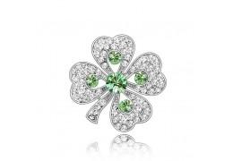 """Brosa """"Trifoi"""" cu cristale austriece albe si verzi"""