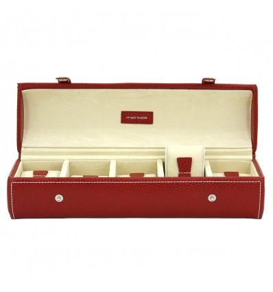 Caseta pentru ceasuri - piele naturala rosie