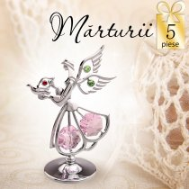 Ingeras argintiu cu cristale Swarovski roz - oferta de 5 marturii botez