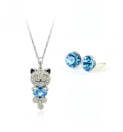 Pussycat - set colier si cercei cu cristale austriece