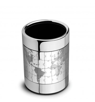 Suport pentru pixuri argintat - puzzle cu glob pamantesc