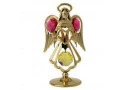 Ingeras auriu cu cristale Swarovski rosii si topaz