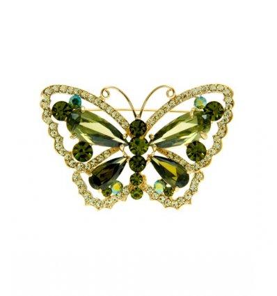 Fluturas cu cristale Swarovski verzi