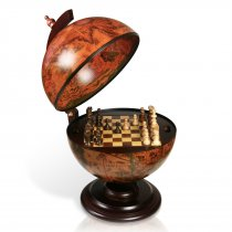 Glob din lemn cu joc de sah si dame