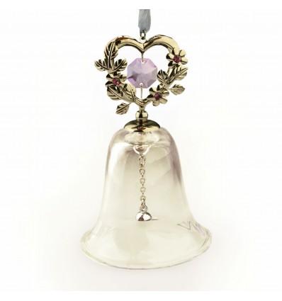 Clopotelul lui Mos Craciun cu cristale Swarovski - violet