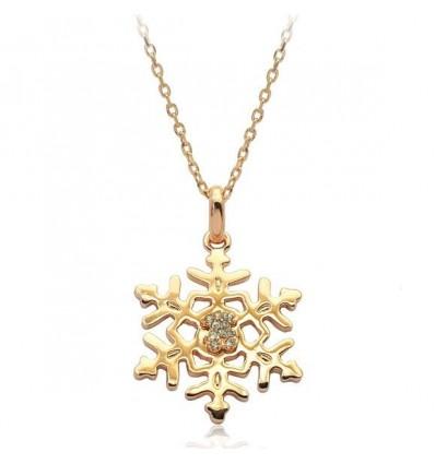 Fulg de nea auriu - Colier cu cristale Swarovski