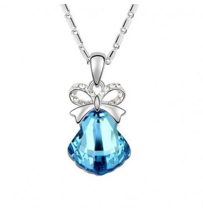 Jingle Bell Blue - colier placat cu platina decorat cu cristale Swarovski
