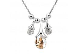 Crystal Globes Amber -  Colier cu cristale swarovski placat cu platina