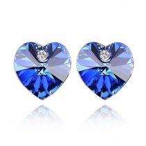 Cercei inimioara cu cristal Swarovski albastru