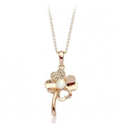 Pearl Clover - Colier placat cu aur