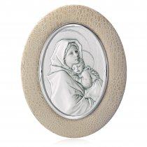 Icoana ovala pe foita de argint si suport de piele