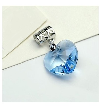 Blue Heart - Pandantiv din argint cu cristale Swarovski
