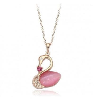 Swan Love - colier decorat cu cristale austriece si opal
