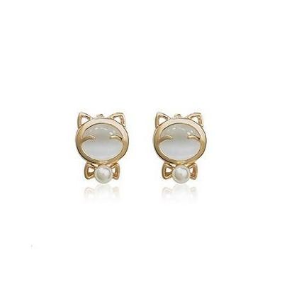 Pearly Cat - cercei placati cu aur