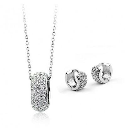 Silver Elegance - set de cercei si colier cu cristale