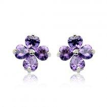 Purple Petals - cercei din argint cu zirconiu