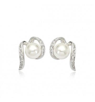 Pearl Hug - Cercei cu perle si cristale placati cu aur alb