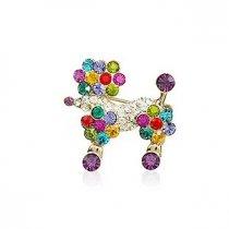 Pudel - brosa cu cristale multicolore