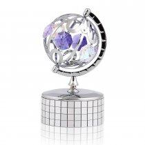 Cutie muzicala Glob Pamantesc cu cristale Swarovski